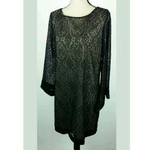 Tacera Black Cream Shift Dress Layered Long Sleeve